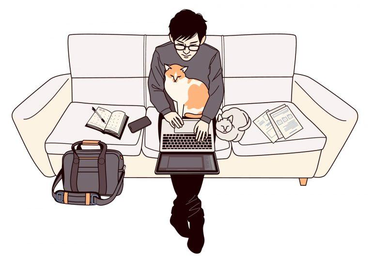 ソファで仕事する人のイメージ もっとこだわりたい!テレワークを快適にするおすすめ便利グッズ10選 TIME SHARING タイムシェアリング  スペースマネジメント あどばる adval SHARING